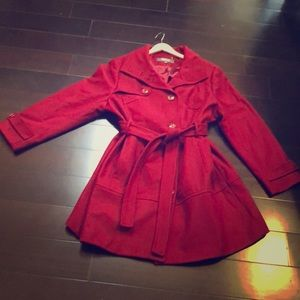Cherry Red Kenneth Cole Reaction Wool Coat